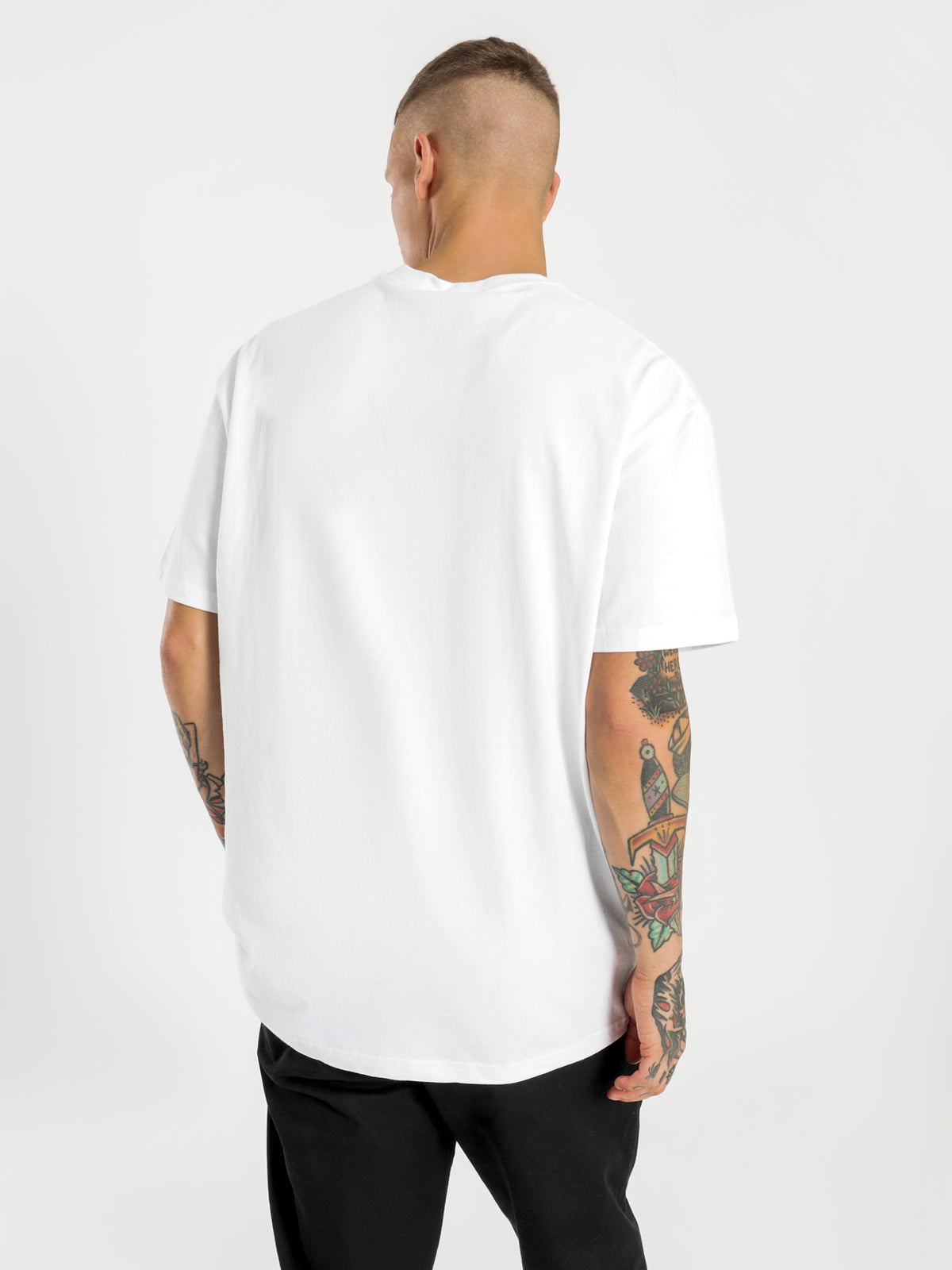 Solid Tour Short Sleeve T-Shirt in White & Blue