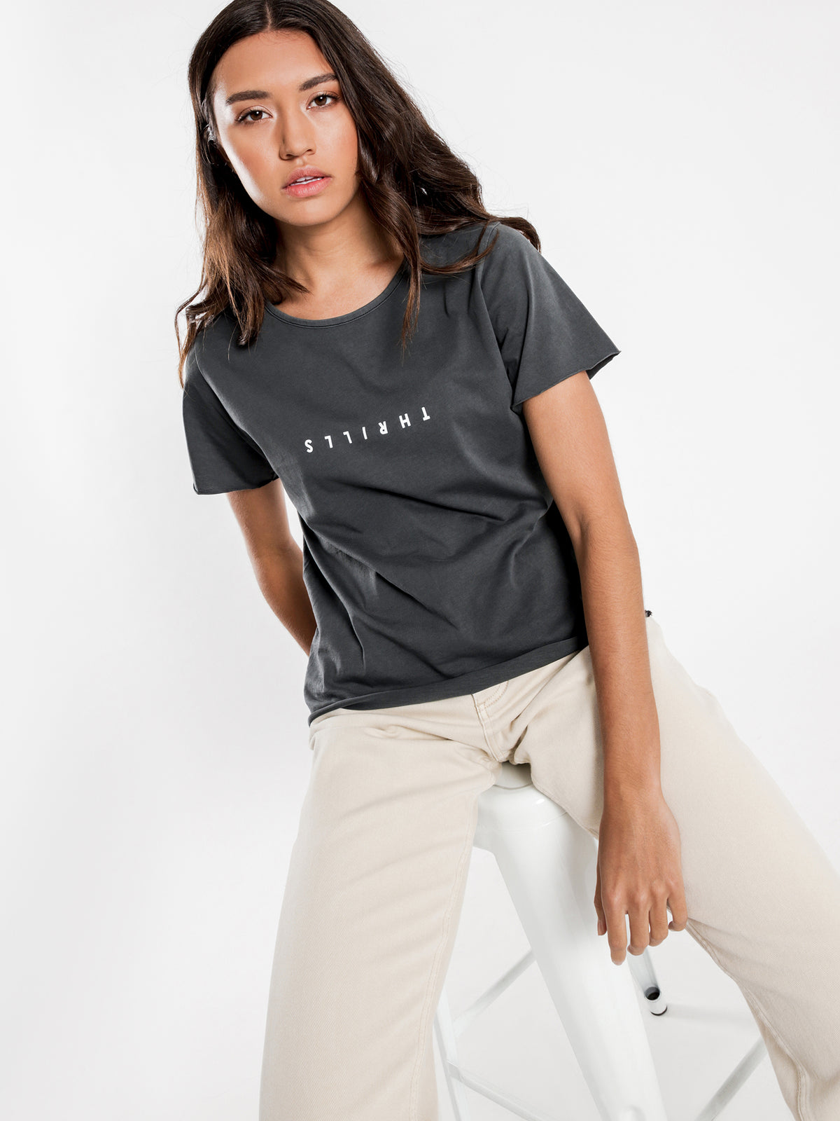 Minimal Thrills Loose Fit T-Shirt in Merch Black