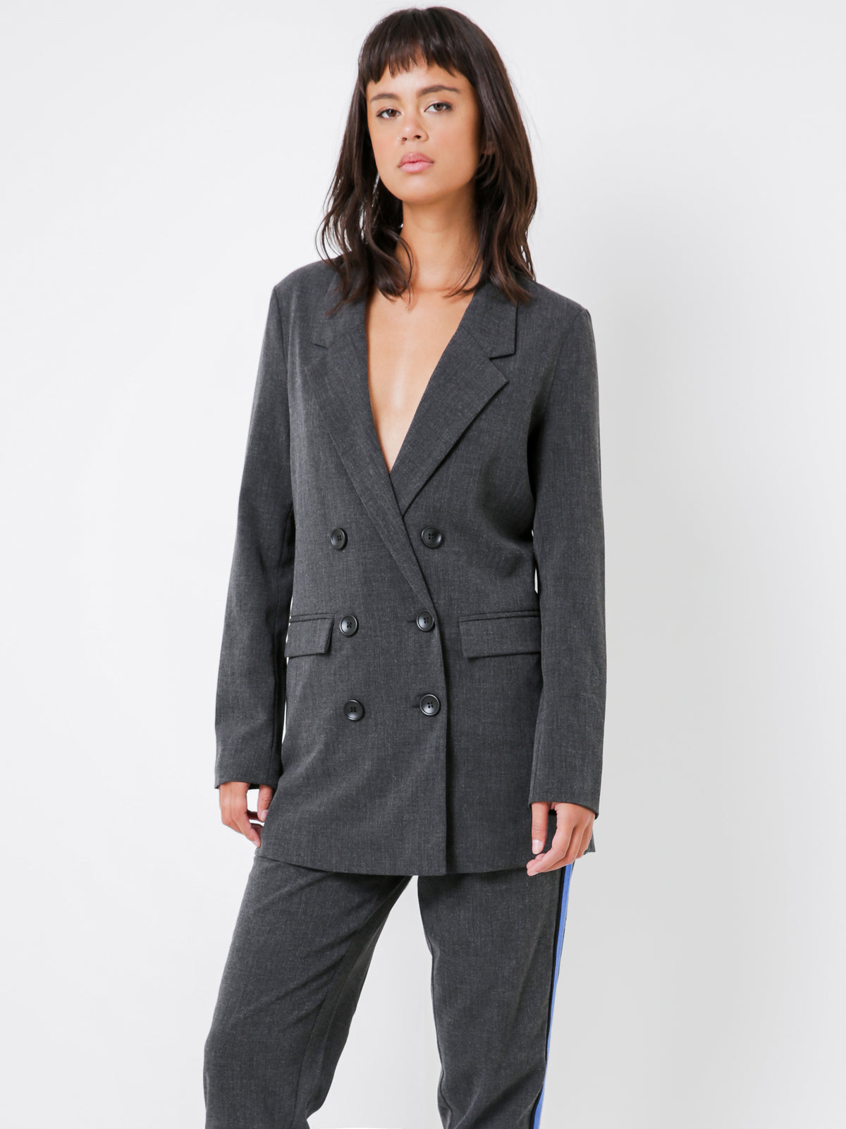 Double Breasted Blazer in Charcoal