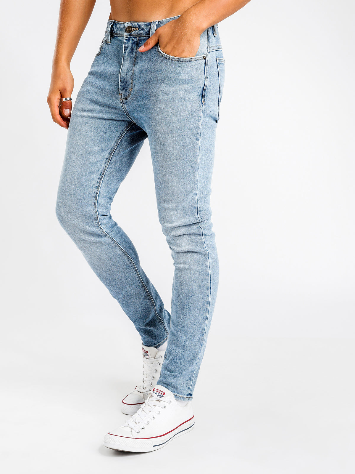 A Dropped Skinny Turn Up Jean in Whispering Blues Denim