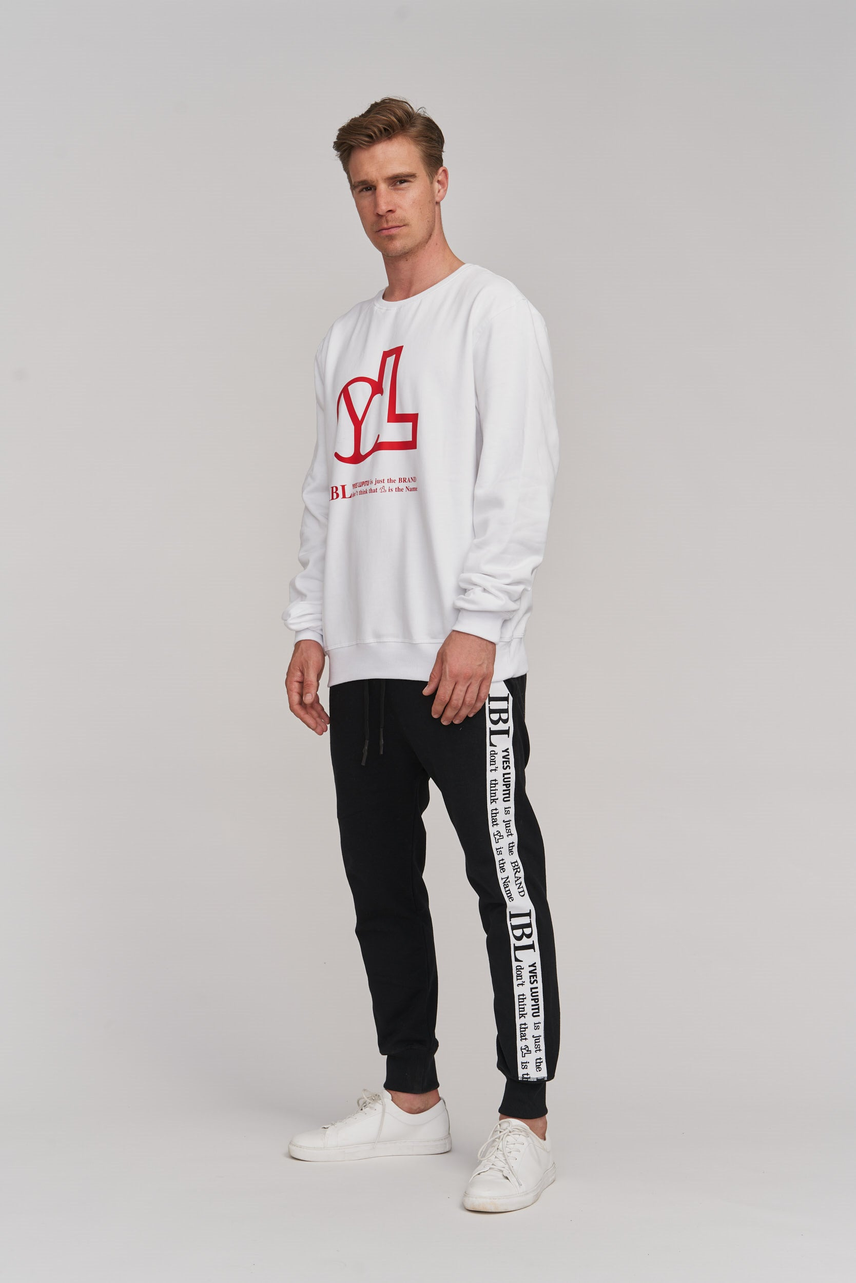 WHITE YL RED LOGO SWEAT