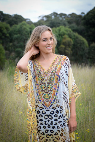 Blue Feather Embellished Cape