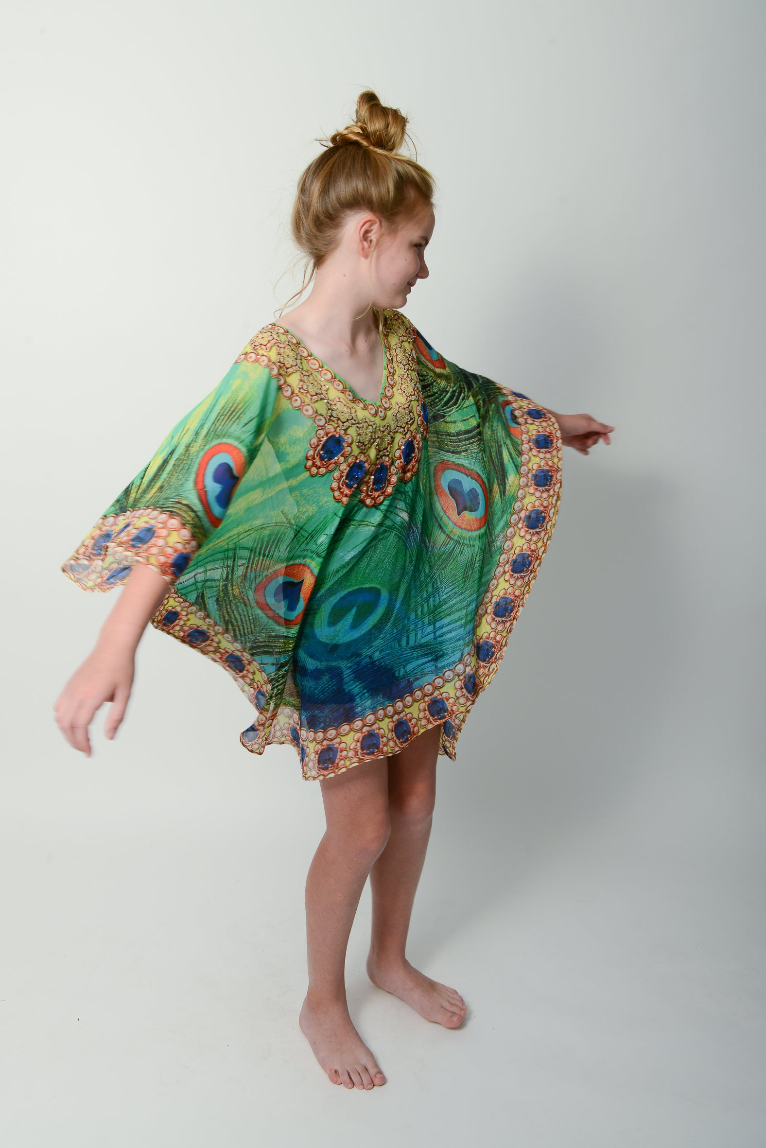 Emerald Peacock Kids Kaftan * Limited Stock * - GlamTanz Kaftans & Resortwear Sydney Australia