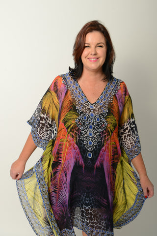 EXOTIC FEATHER KAFTAN