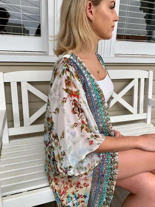 Mint Flower Embellished Cape - GlamTanz Kaftans & Resortwear Sydney Australia