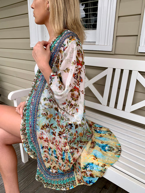 Mint Flower Embellished Cape