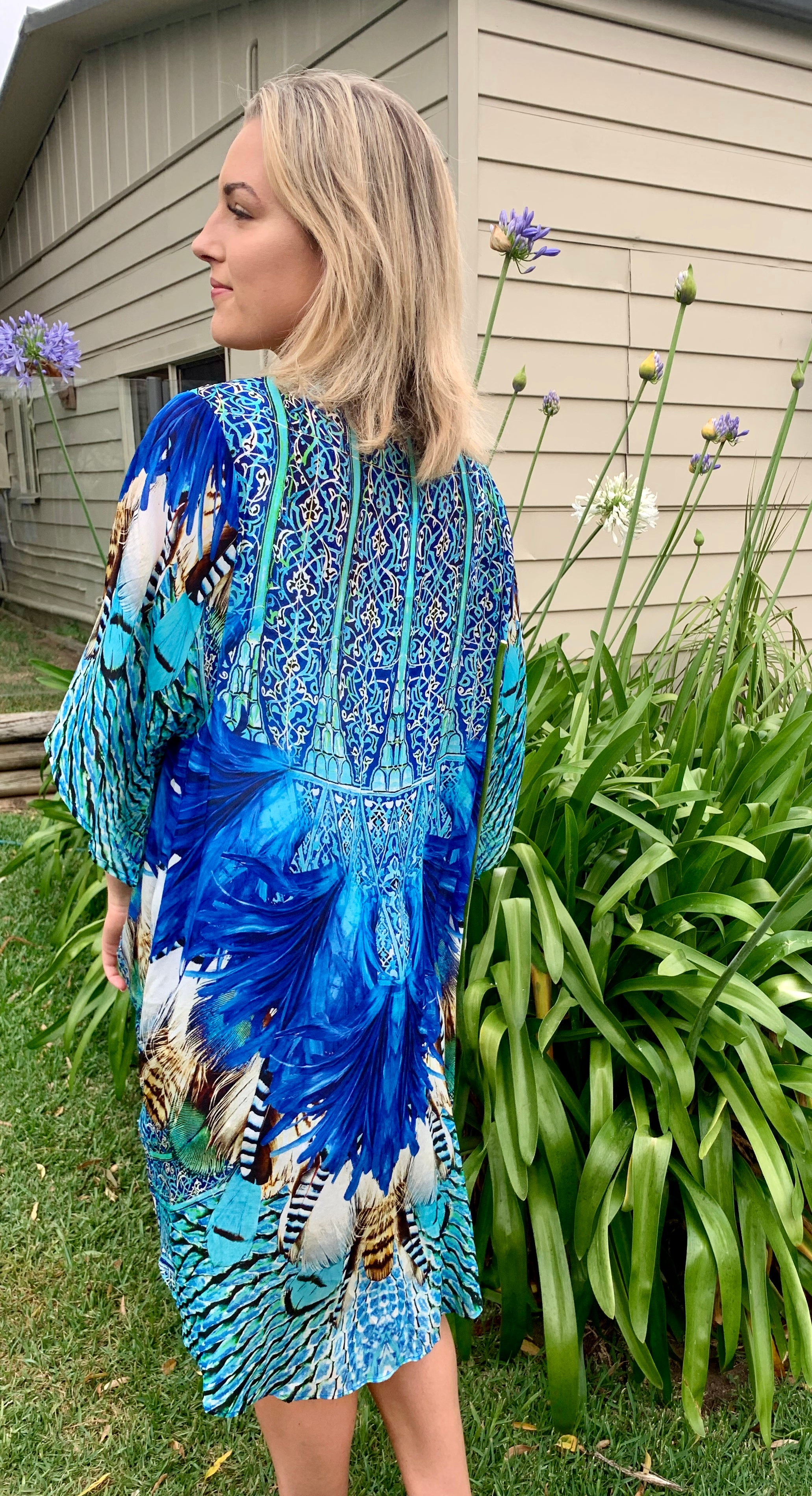Blue Feather Embellished Cape - GlamTanz Kaftans & Resortwear Sydney Australia