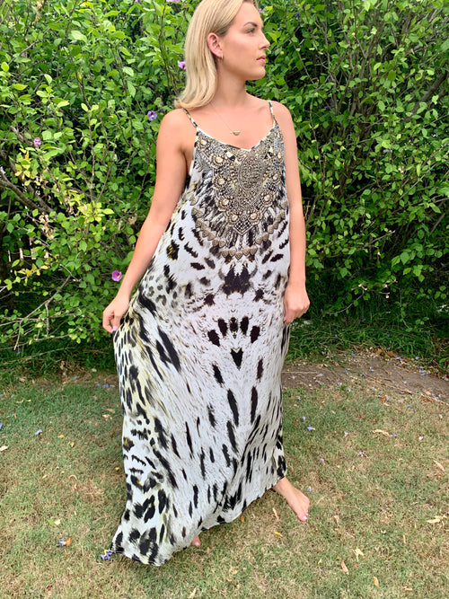 Snow Leopard Embellished Maxi Dress - GlamTanz Kaftans & Resortwear Sydney Australia