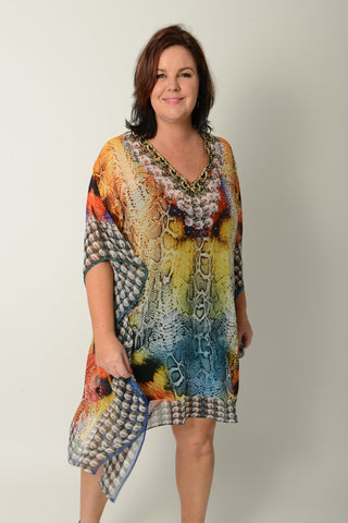 Exotic Blue Tiger Balloon Kaftan - 50% OFF