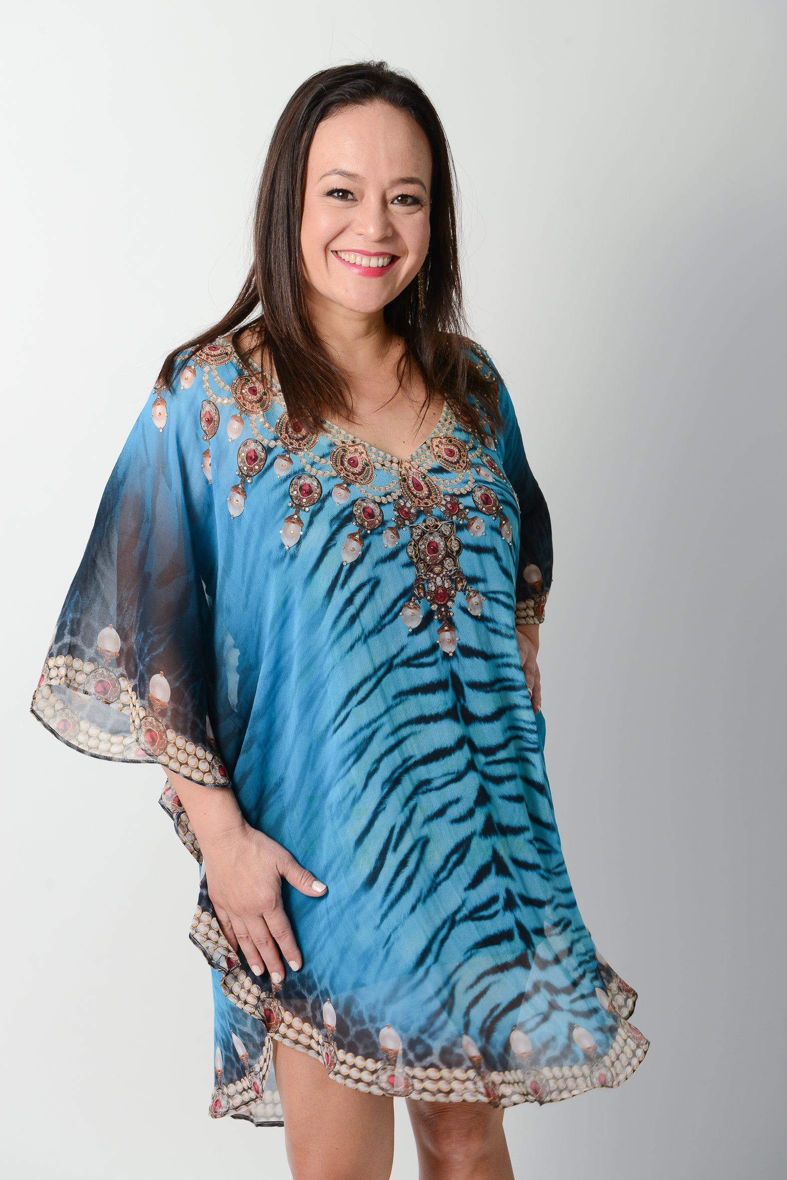 Exotic Blue Tiger Balloon Kaftan - 50% OFF - GlamTanz Kaftans & Resortwear Sydney Australia
