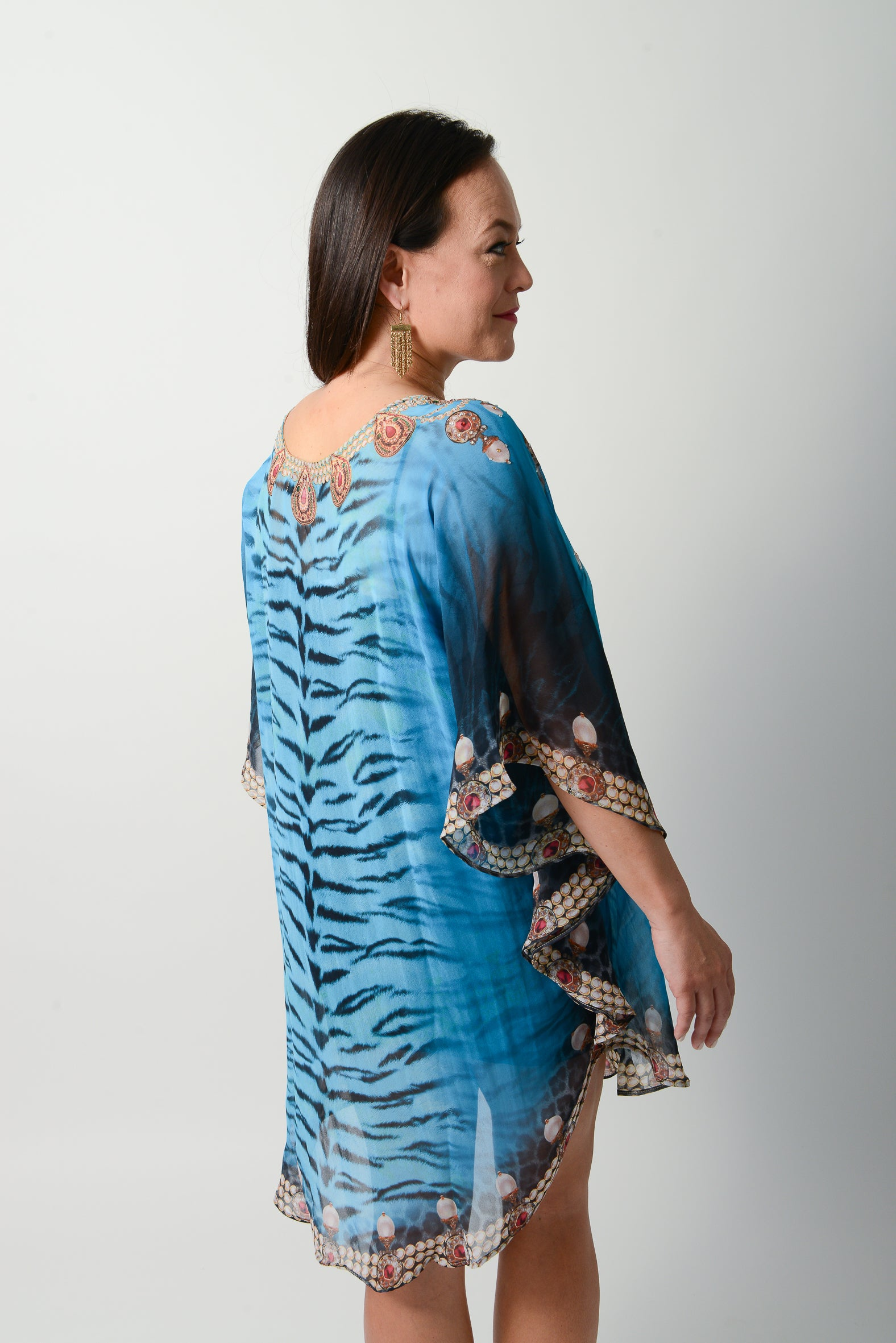 Exotic Blue Tiger Balloon Kaftan - GlamTanz Kaftans & Resortwear Sydney Australia