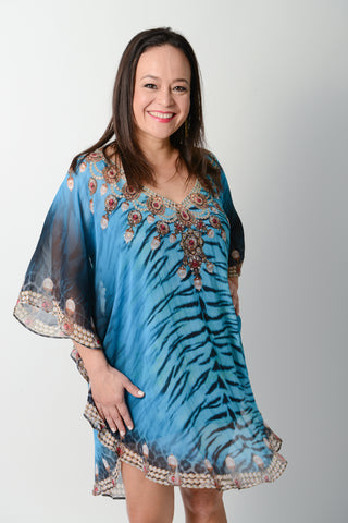 BLUE TIGER BALLOON KAFTAN