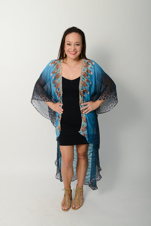 Exotic Blue Tiger Cape * Limited Stock * - GlamTanz Kaftans & Resortwear Sydney Australia