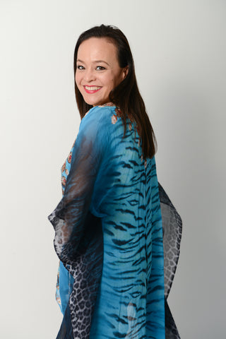 EXOTIC BLUE TIGER KAFTAN