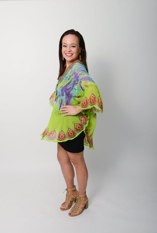 Citrus Splash Balloon Top - GlamTanz Kaftans & Resortwear Sydney Australia