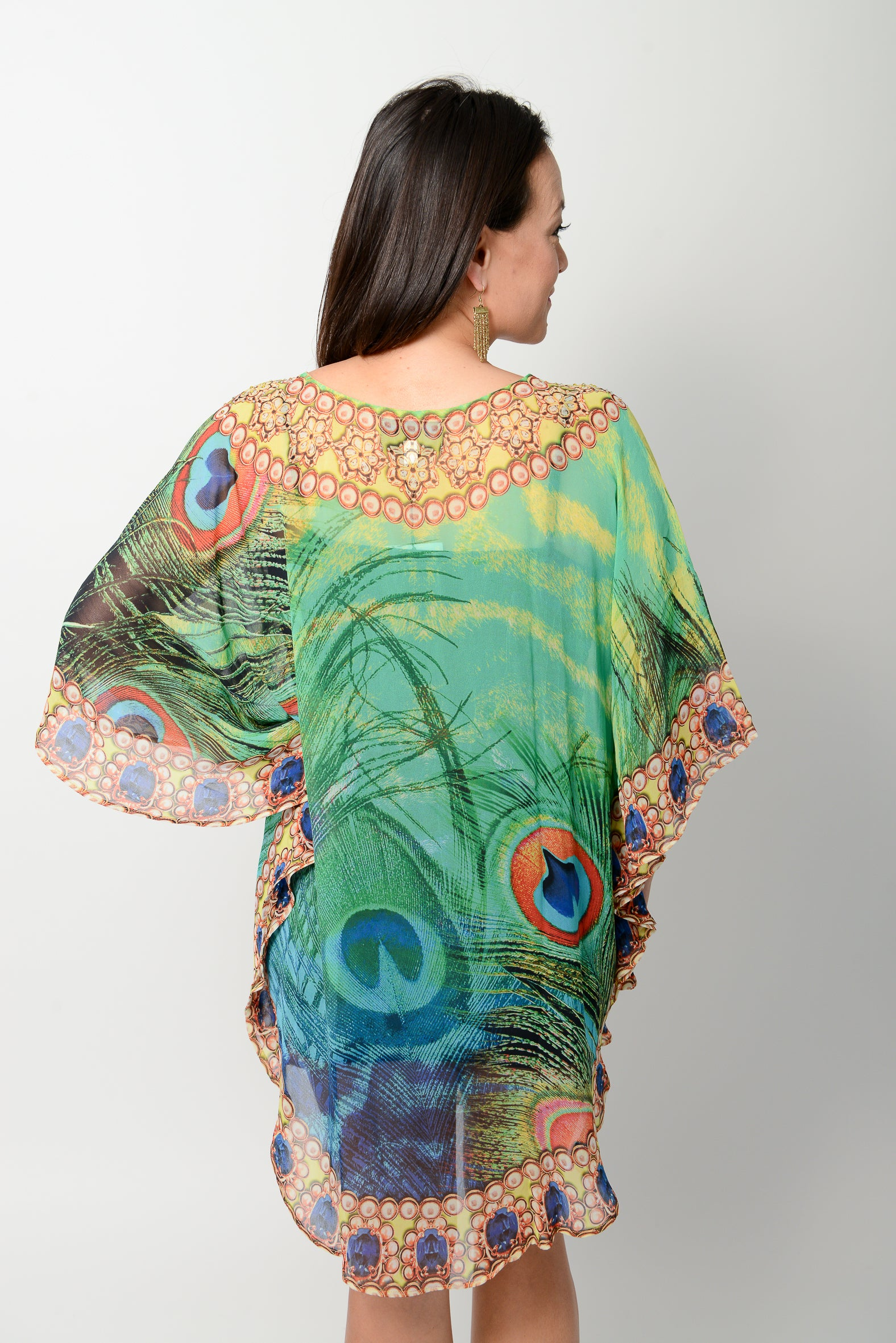 Emerald Peacock Balloon Kaftan * Limited Stock * - GlamTanz Kaftans & Resortwear Sydney Australia