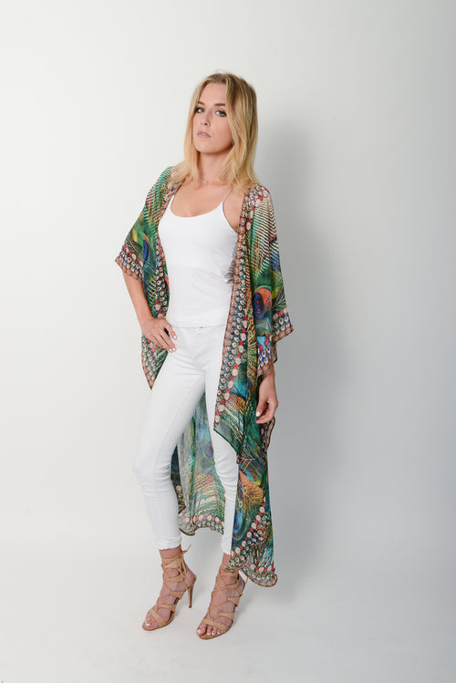 Exotic Peacock Cape * Limited Stock * - GlamTanz Kaftans & Resortwear Sydney Australia