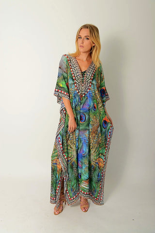 EXOTIC PEACOCK LONG KAFTAN