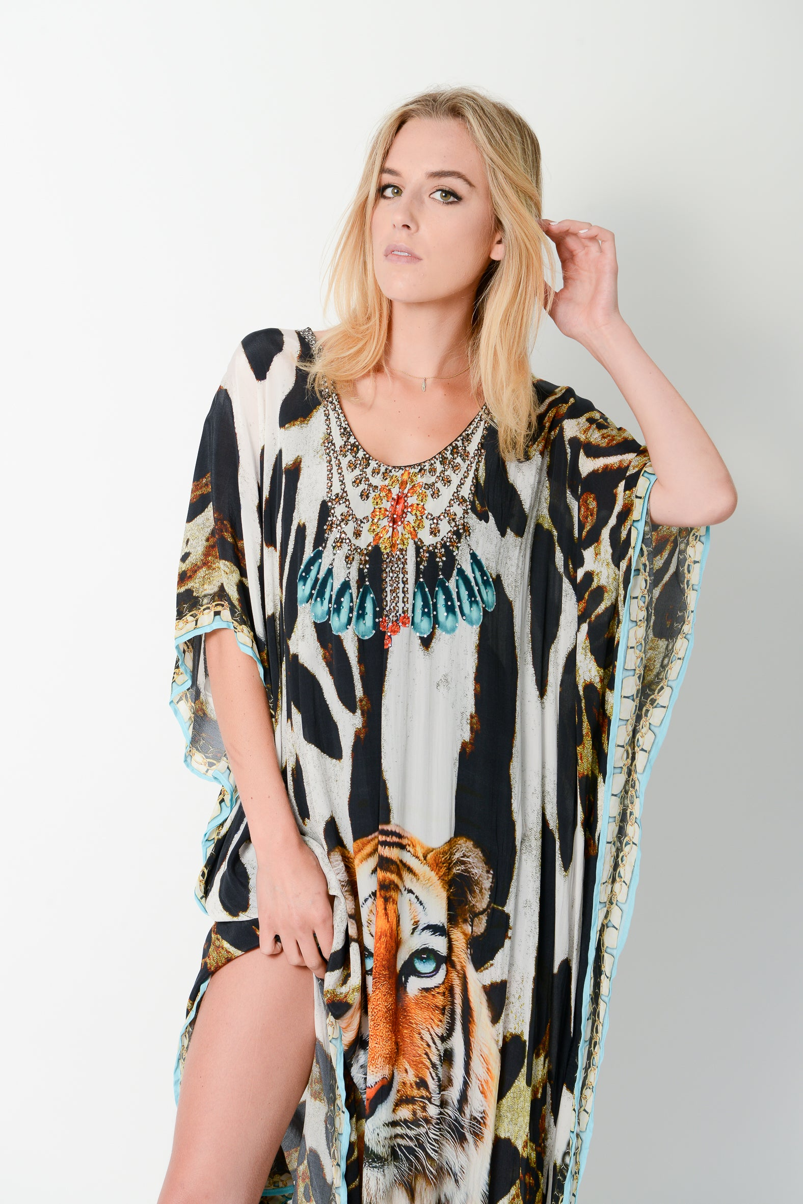 Exotic Tiger Long Kaftan - GlamTanz Kaftans & Resortwear Sydney Australia