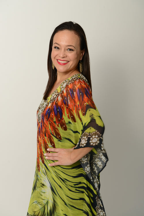 Green Feather Kaftan - GlamTanz Kaftans & Resortwear Sydney Australia