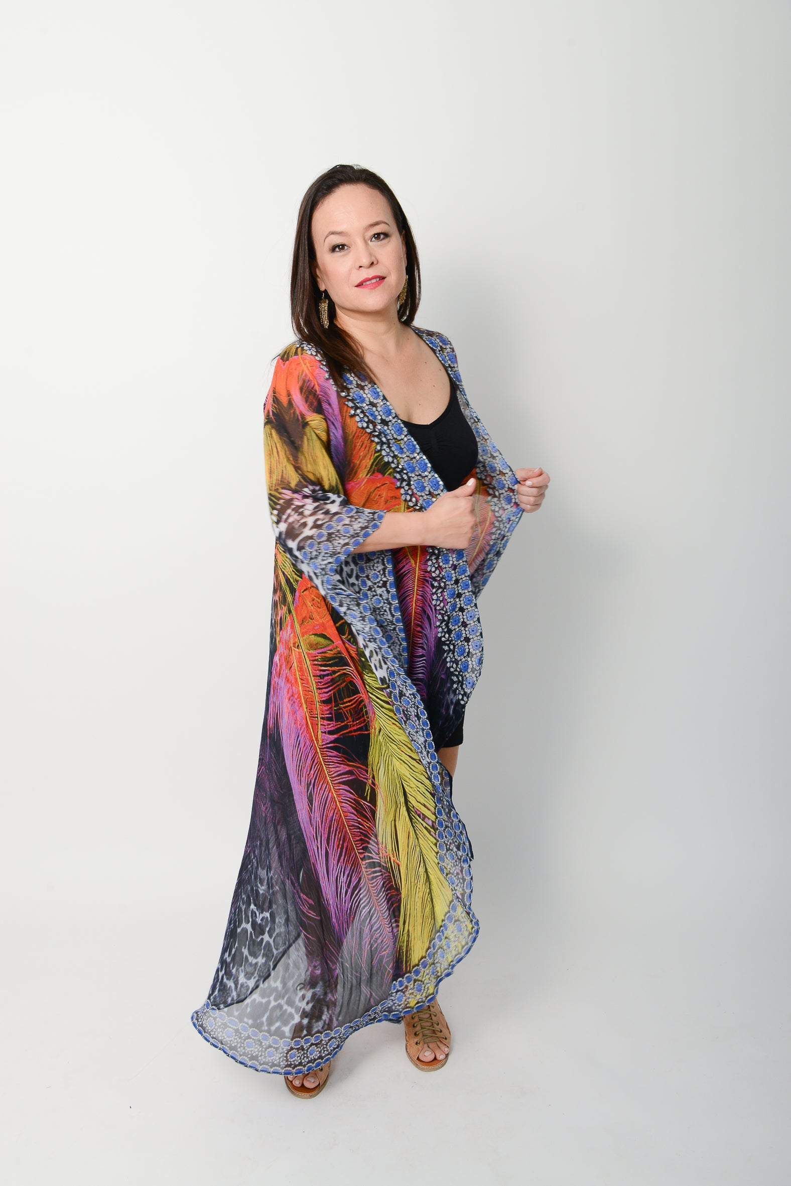 Exotic Feather Cape - GlamTanz Kaftans & Resortwear Sydney Australia