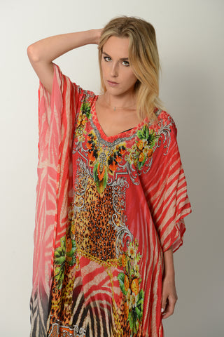 RUBY ZEBRA LONG KAFTAN