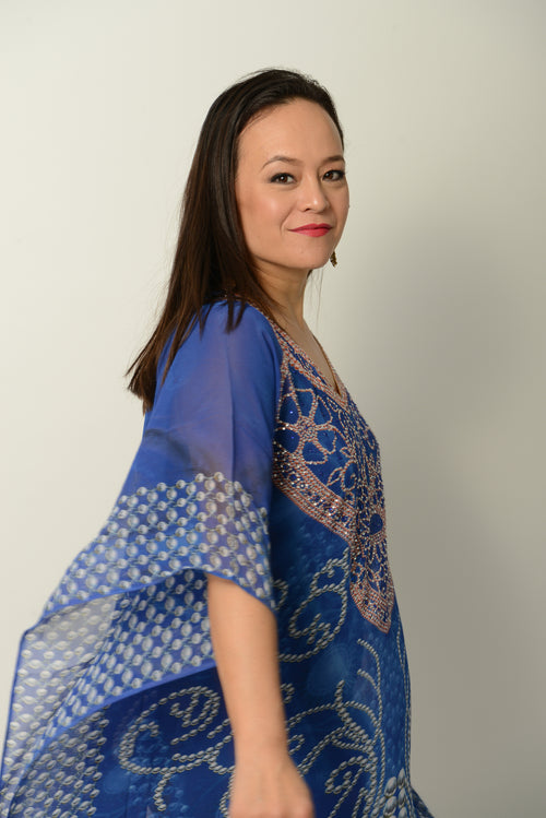 Tribal Blue Kaftan * Limited Stock * - GlamTanz Kaftans & Resortwear Sydney Australia