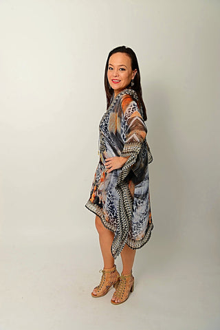 TRIBAL FEATHER KAFTAN
