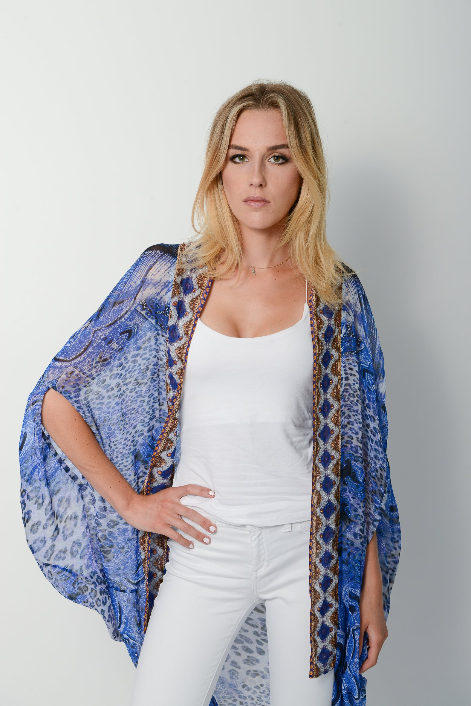 Wild Blue Cape * Limited Stock * - GlamTanz Kaftans & Resortwear Sydney Australia