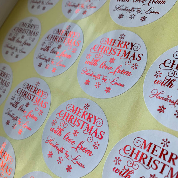 Merry Christmas Foiled Thank You Stickers