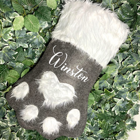 Personalised Pet Christmas Stocking - Grey and Red
