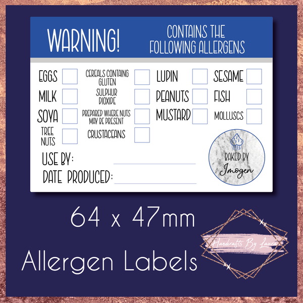 Food - Baking -  Allergen Labels