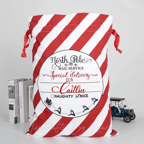 Personalised Red and White Candy Cane Style Christmas Santa Sack