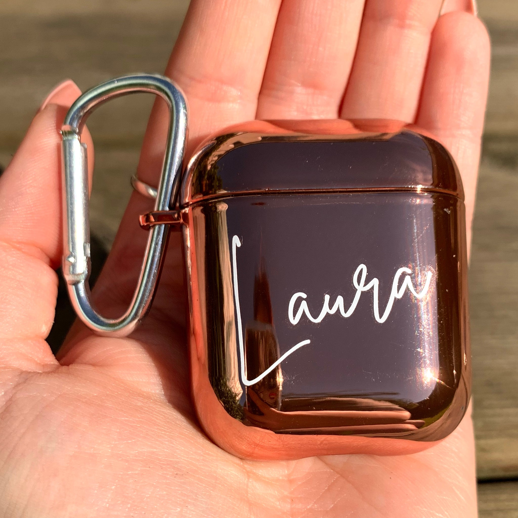 Personalised Hard Rose Gold Chrome Airpod 1 or 2  Case