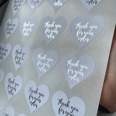 Heart Shaped Foiled Stickers