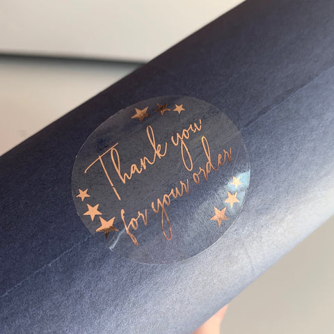 Clear Foiled Thank You Stickers