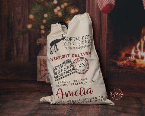 Personalised Traditional Style Christmas Santa Sack