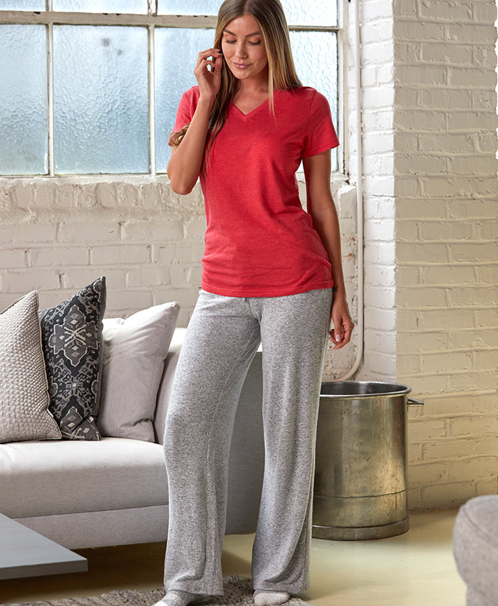 Woman in tee and cuddle pant