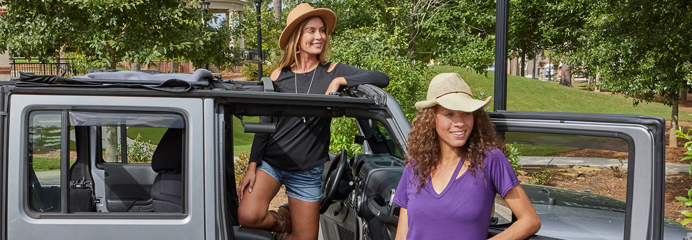 Women in jeep