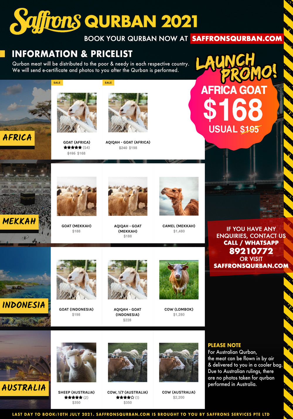 Price list and information for Saffrons Qurban 2021