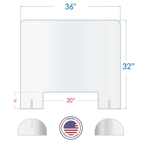 Portable Sneeze Guard  W/Base 24''(W) x 32''(H) 3/16'' Acrylic Barrier Shield