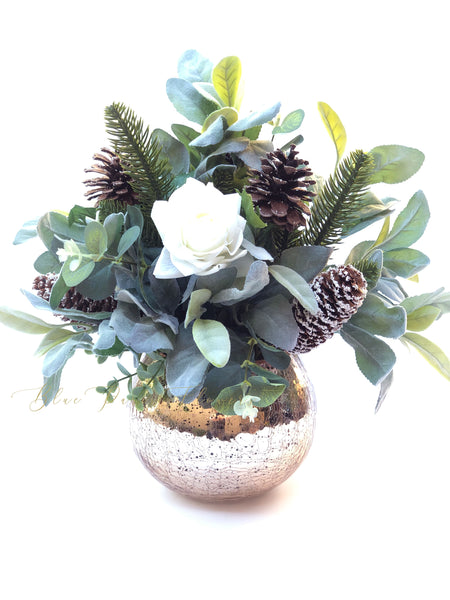 Christmas Artificial Flower Arrangement Floral Faux Centerpiece Natu Blue Paris Flowers