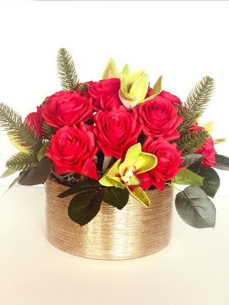 Christmas Real Touch Red Roses Arrangement Gold Vase Floral Decor Cen Blue Paris Flowers