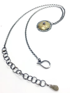 Brass Shield Pendant with Abalone & Labradorite & Adjustable Sterling Silver Chain