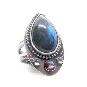 Labradorite, Abalone, & Moonstone Aziza Ring in Sterling Silver, Size 9