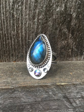 Load image into Gallery viewer, Labradorite, Abalone, & Moonstone Aziza Ring in Sterling Silver, Size 9