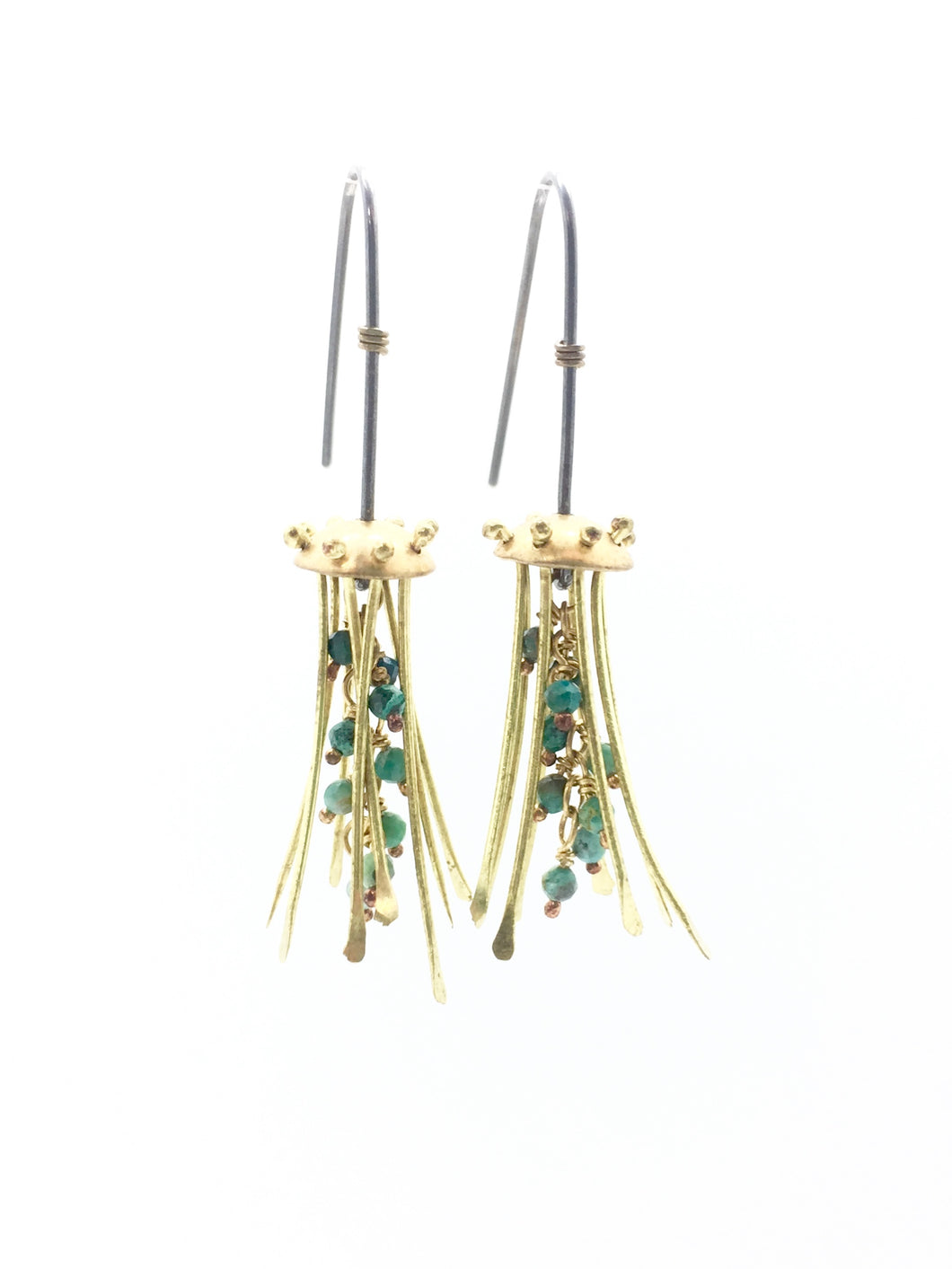 Mini Brass Jellyfish Earrings with Turquoise & Sterling Silver Earwires