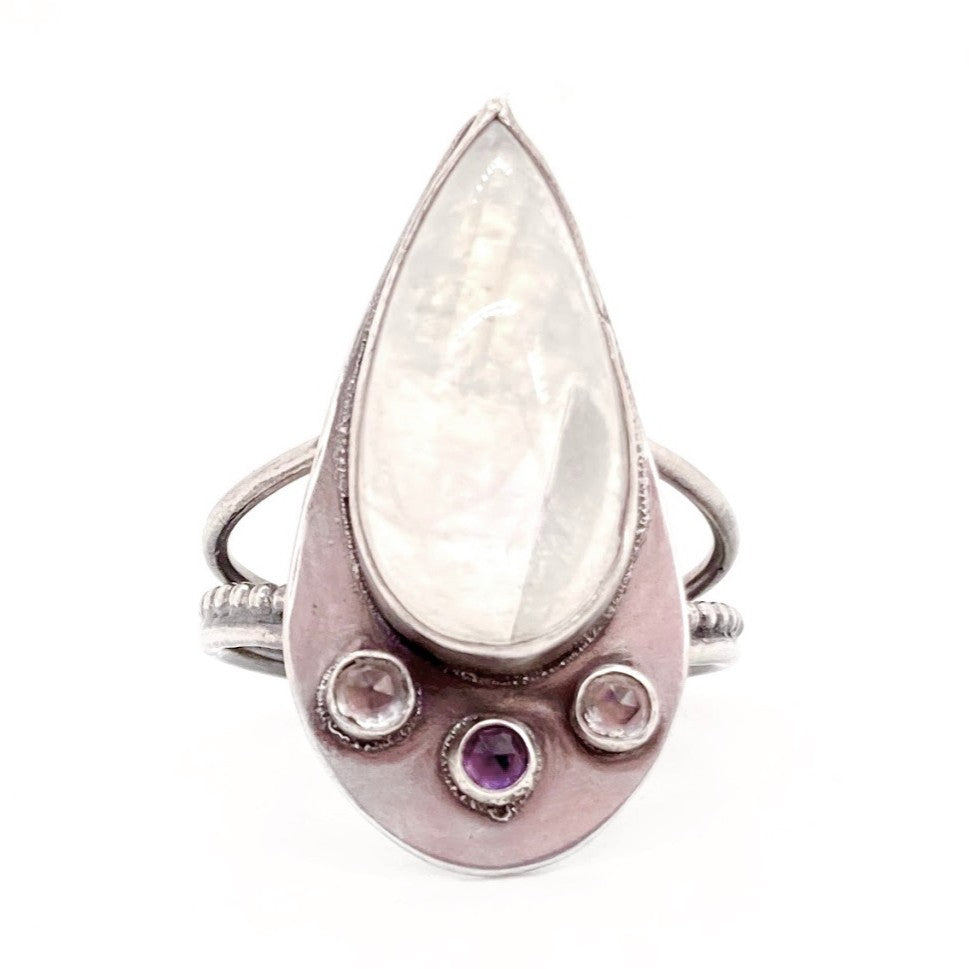 Moonstone, Amethyst, & Topaz Aziza Ring in Sterling Silver