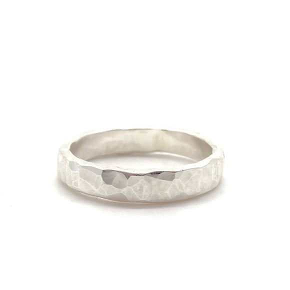3mm Hammered Band Ring in Sterling Silver