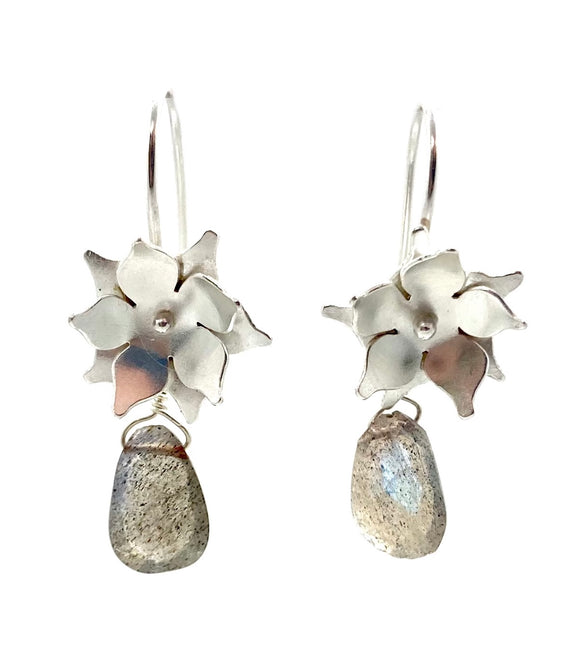 Sterling Silver Floral Drop Earrings with Labradorite